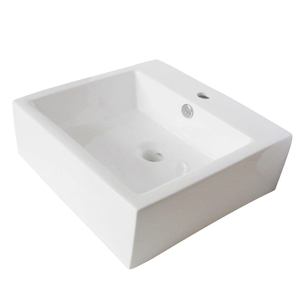 Kingston brass single hole square bathroom sink in white for Bathroom design kingston