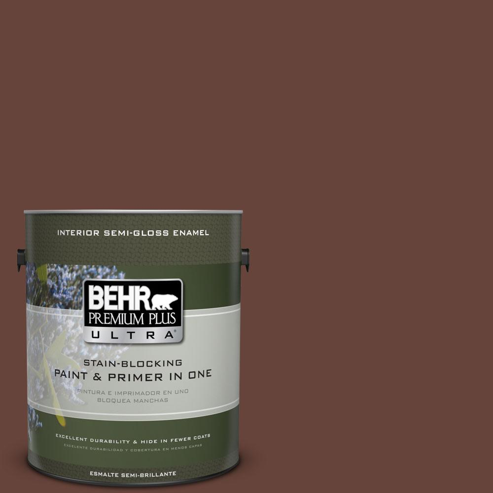 BEHR Premium Plus Ultra 1-gal. #S-G-740 Brown Eyes Semi-Gloss Enamel Interior Paint