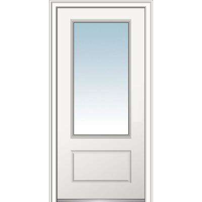 36 in. x80 in. Right-Hand Inswing 3/4-Lite Clear 1-Panel Primed Fiberglass Smooth Prehung Front Door on 6-9/16 in. Frame