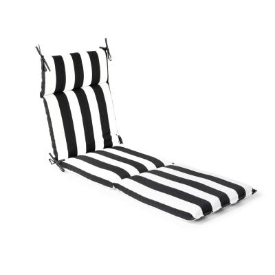 21.5 in. x 72 in. x 4 in. Black Cabana Stripe Outdoor Chaise Lounge Cushion
