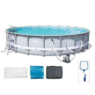 20 ft. x 48 in. D Steel Metal Frame Round Pool Set with Pump, Ladder and Ground and Top Covers