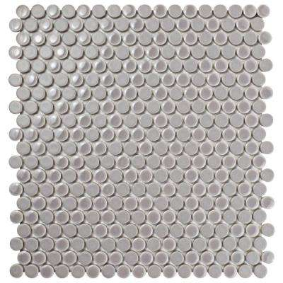 11-1/4 in. x 11-3/4 in. x 9mm Ash Comet Penny Round Porcelain Mosaic Tile