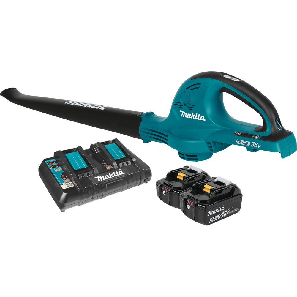 Makita 18-Volt X2 (36-Volt) LXT Lithium-Ion Cordless Blower Kit with (2) Batteries 5.0Ah and Charger