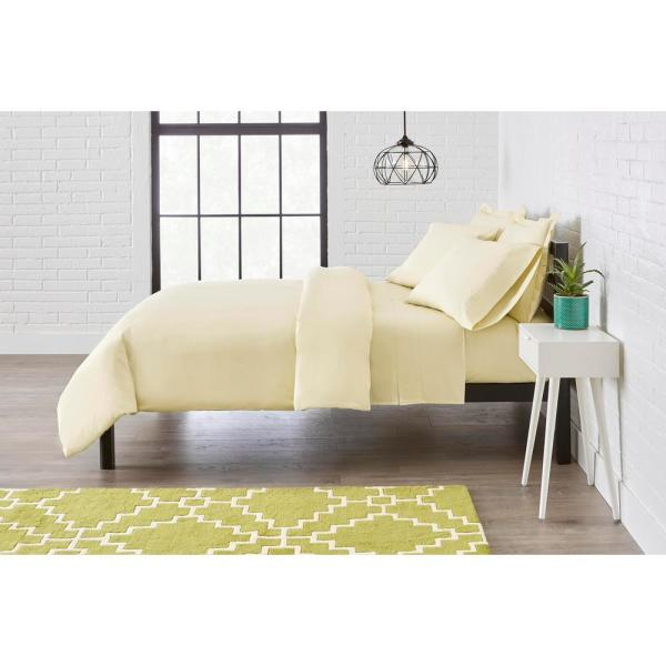 StyleWell Vintage Washed Cotton Percale 3-Piece Full/Queen Duvet Cover Set in