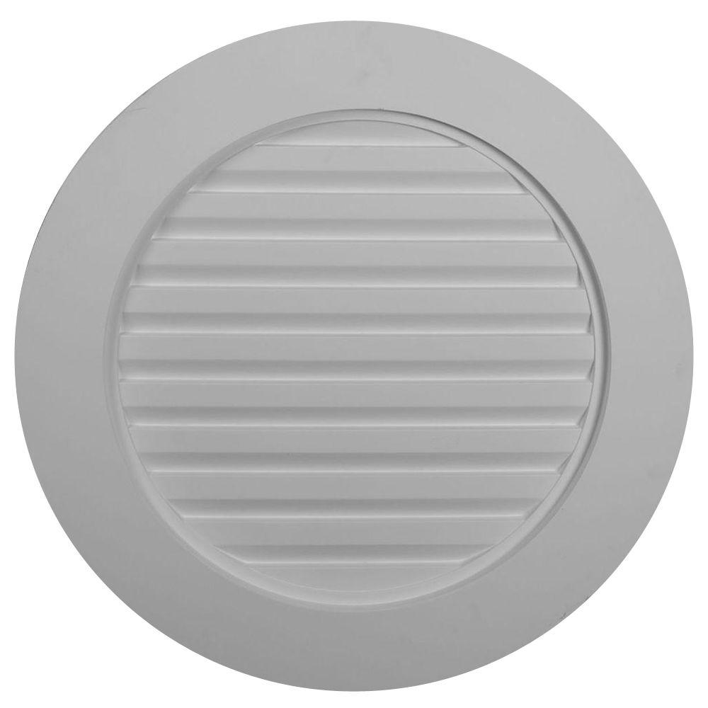 Ekena Millwork 2 in. x 27 in. x 27 in. Decorative Plain Round Gable Louver Vent
