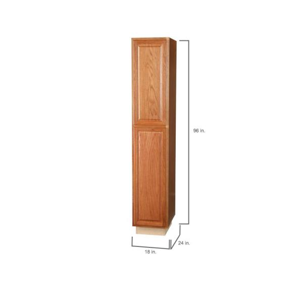 Hampton Bay Hampton Assembled 18x96x24 In Pantry Kitchen Cabinet In Medium Oak Kp1896 Mo The Home Depot