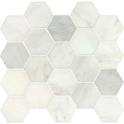 Greecian White Hexagon 12 in. x 12 in. x 10mm Polished Marble Mesh-Mounted Mosaic Tile (1.06 sq. ft.)