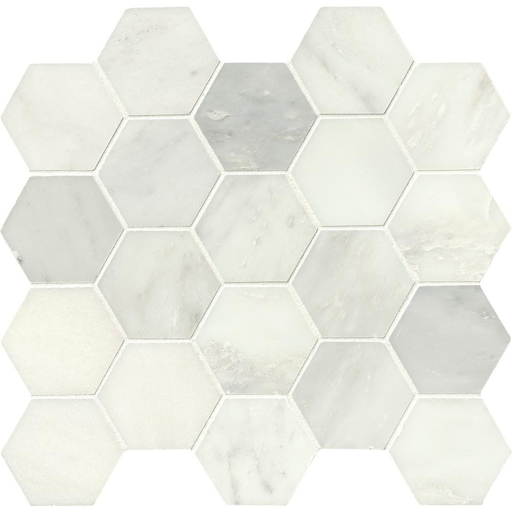 MSI Greecian White Hexagon 12 in. x 12 in. x 10 mm Polished Marble Mesh-Mounted Mosaic Tile
