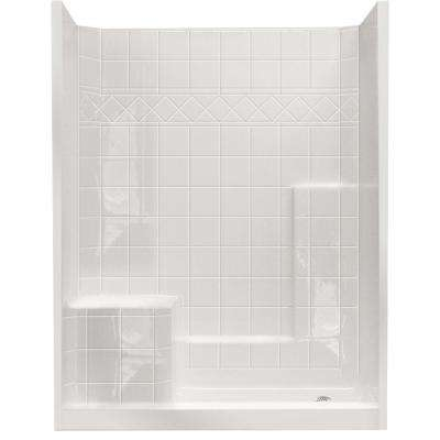 32 in. x 60 in. x 77 in. Standard Low Threshold 3-Piece Shower Kit in White with Left Seat and Right Drain