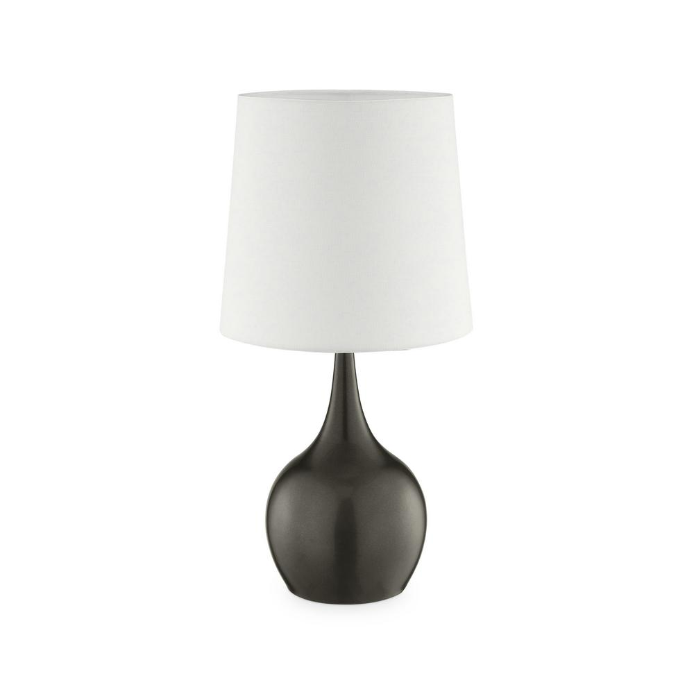Ore International 23 5 In Niyor Powder Gray Mid Century Modern Touch On Metal Table Lamp K 820gy The Home Depot