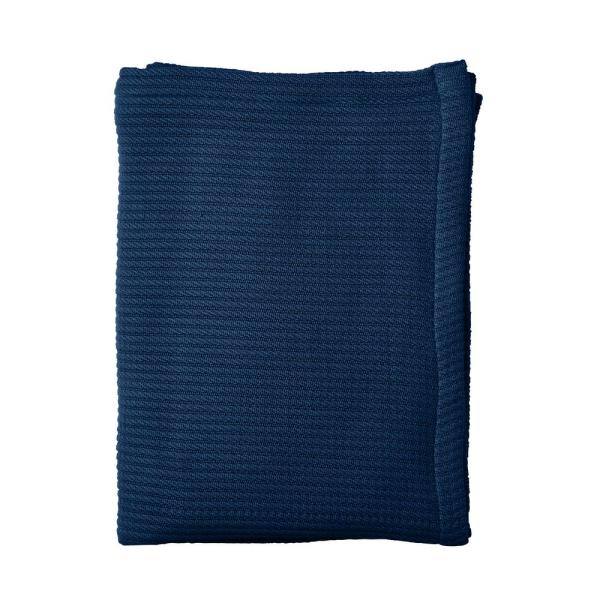 The Company Store Cable Knit Cotton Queen Blanket in Midnight Blue