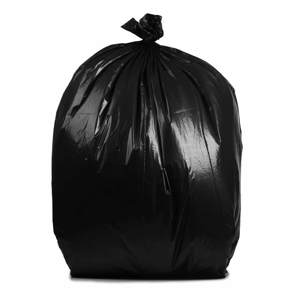 PlasticMill 50 in. W x 60 in. H 64 Gal. 1.5 mil Black Trash Bags (30-Case)