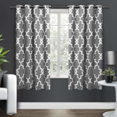 Ironwork 52 in. W x 63 in. L Woven Blackout Grommet Top Curtain Panel in Black Pearl (2 Panels)