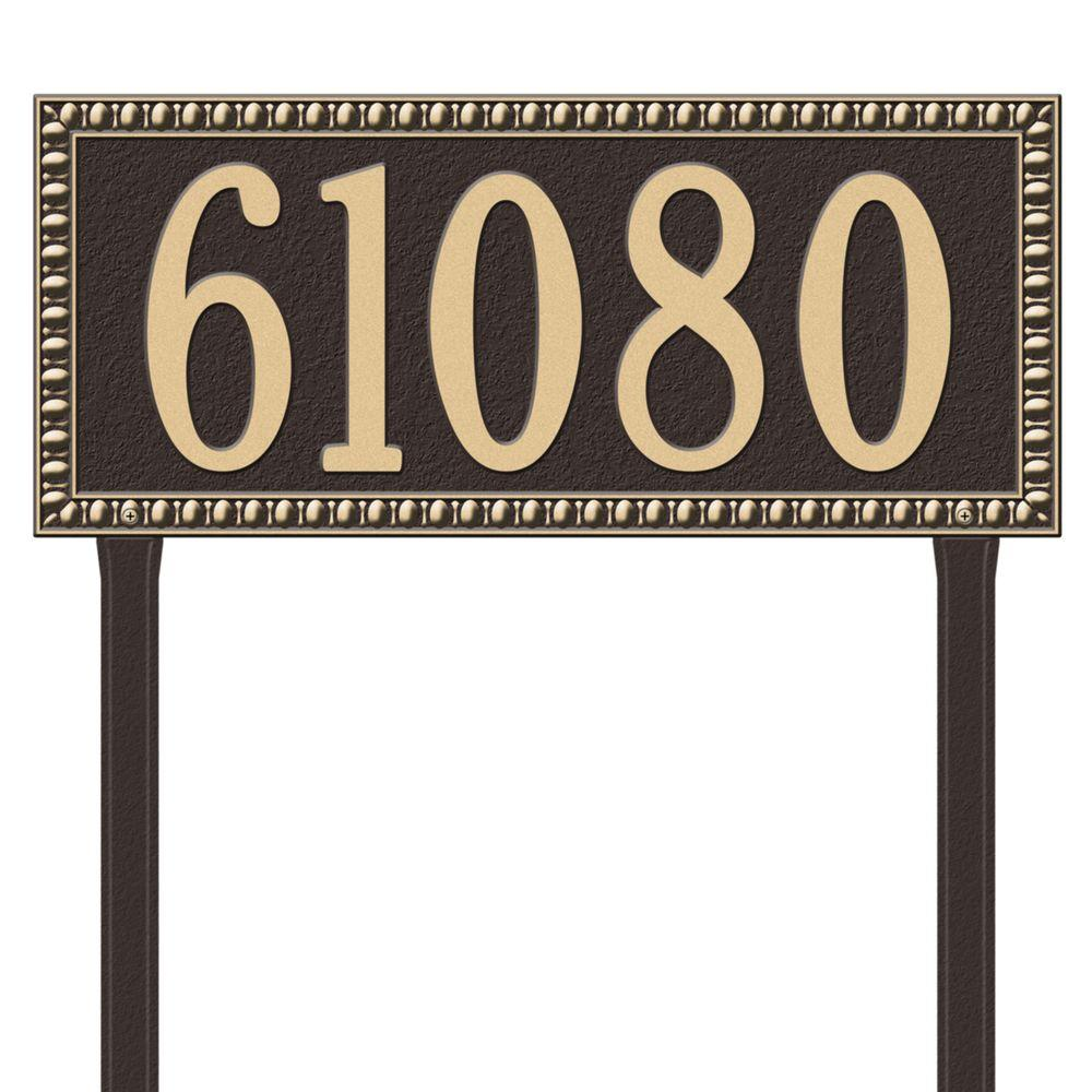 Egg and Dart Rectangular Bronze/Gold Estate Lawn One Line Address Plaque