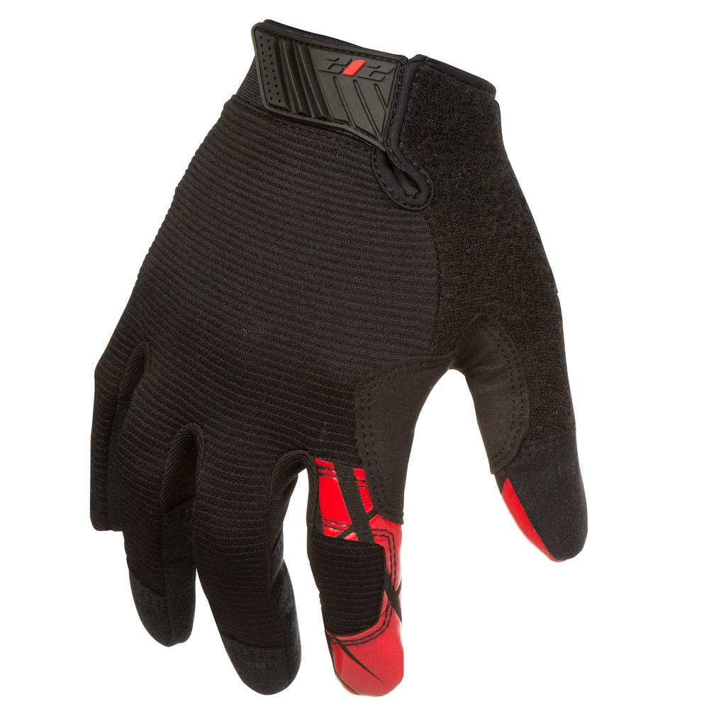 Enhanced Grip Touchscreen Compatible Work Gloves, Black/Red