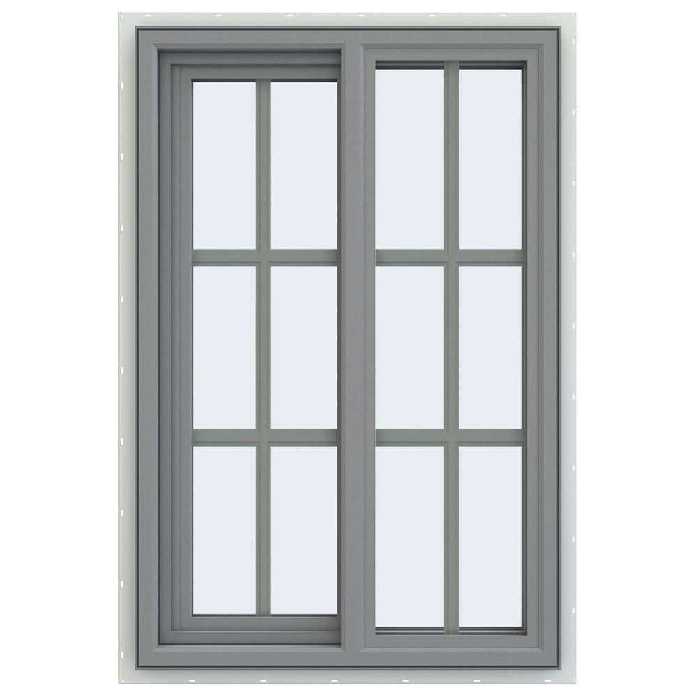 JELD-WEN 23.5 in. x 35.5 in. V-4500 Series Left-Hand Sliding Vinyl Window with Grids - Gray