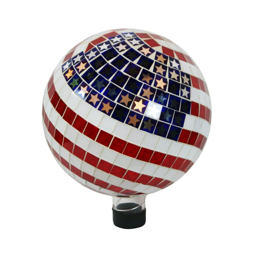 10 in. Mosaic American Flag Gazing Ball