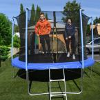8 ft. Trampoline with Safety Net and Ladder in Black and Blue