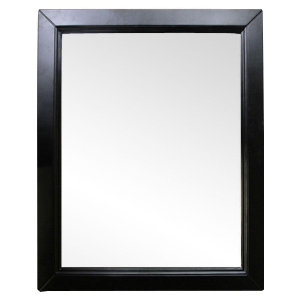 Hercules 30 in. W x 1 in. D x 36 in. H Single Framed Wall Mirror in Espresso