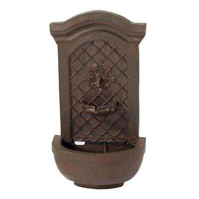 Rosette Leaf Iron Electric Powered Outdoor Wall Fountain
