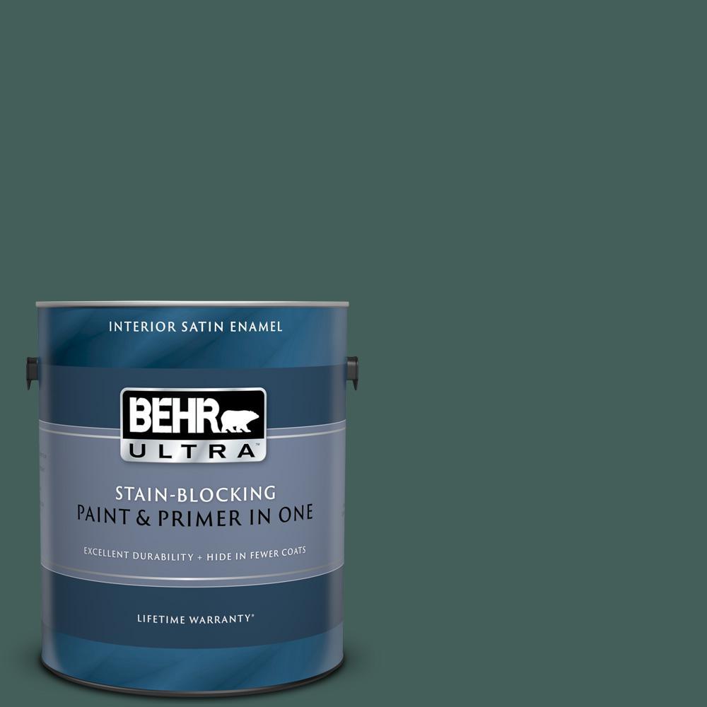 Behr Ultra 1 Gal Bic 54 Vert Pierre Extra Durable Satin Enamel Interior Paint Primer 775301 The Home Depot