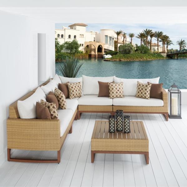 Mili 6-Piece Wicker Patio Sectional Seating Set with Sunbrella Moroccan Cream Cushions