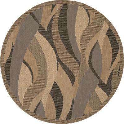 Recife Seagrass Natural-Black 7 ft. x 6 in. x 7 ft. 6 in. Round Indoor/Outdoor Area Rug