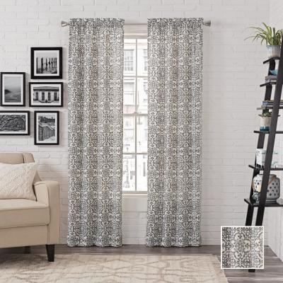 Light Filtering Charcoal Smooth Poly/Cotton Rod Pocket Curtain