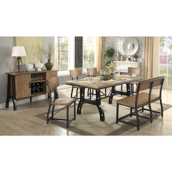 Kirstin Rustic Oak And Black Industrial Style Dining Table