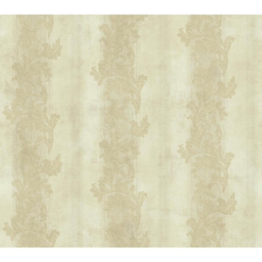 Gold Leaf Acanthus Stripe Wallpaper