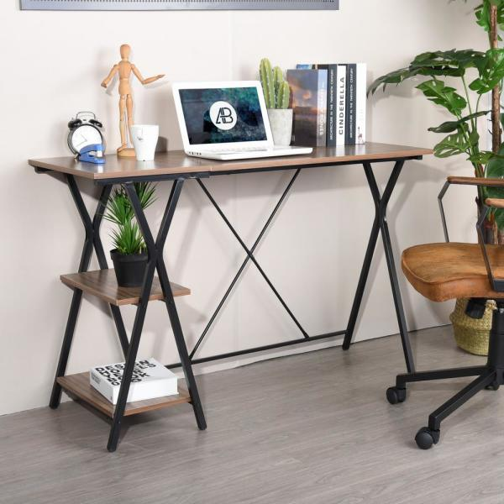 Furniturer Modern L Shaped 47 2in Long Desk Corner Computer Desk Study Writing Table Workstation With Shelves Brown Maddie Lmkz The Home Depot