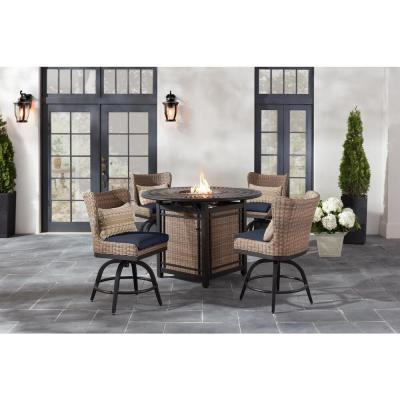 Hazelhurst Brown Wicker Outdoor Patio Swivel High Dining Chairs with CushionGuard Midnight Navy Blue Cushions (2-Pack)