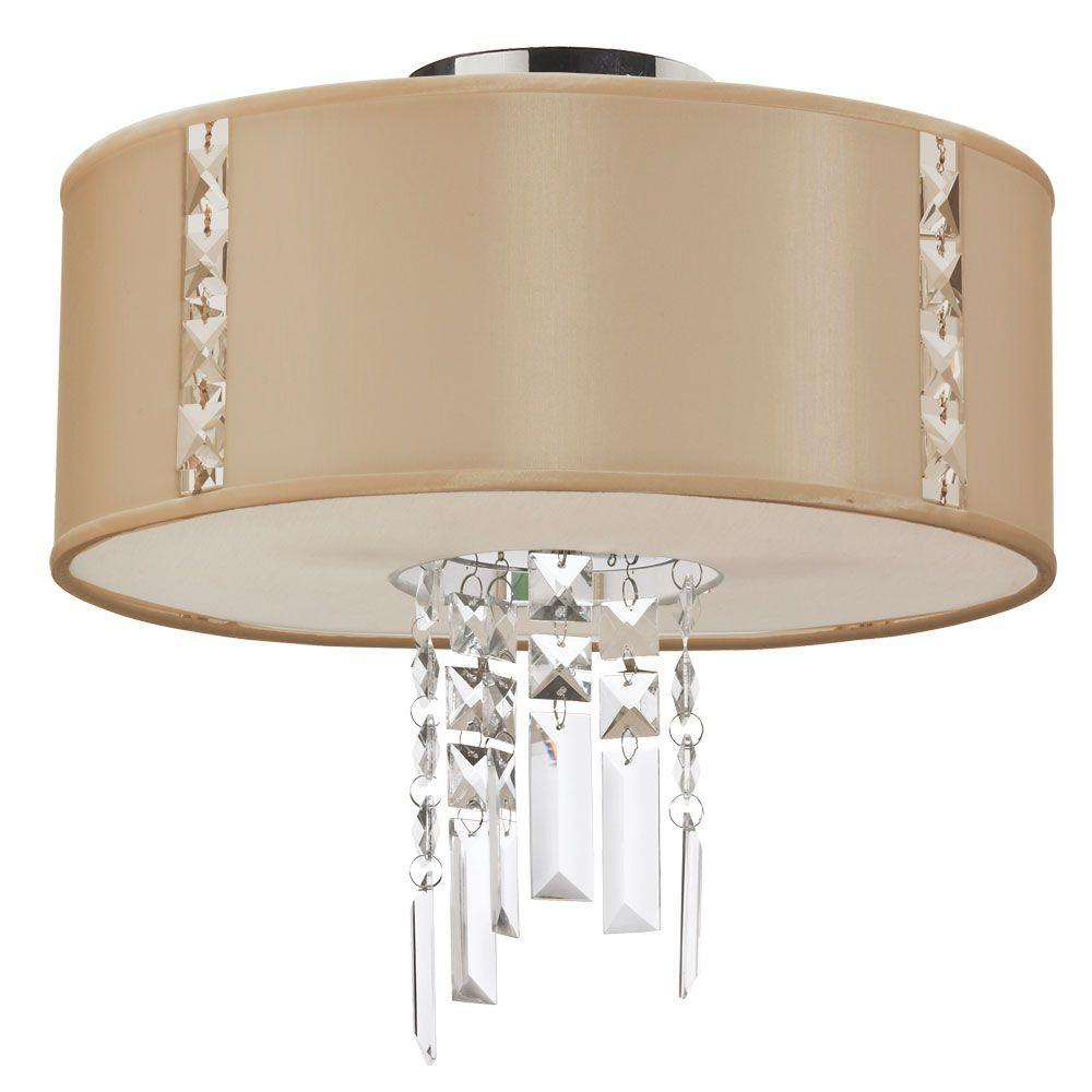 Rita 2-Light Cream Semi-Flush Mount with Silk Glow Cream Drum Shade