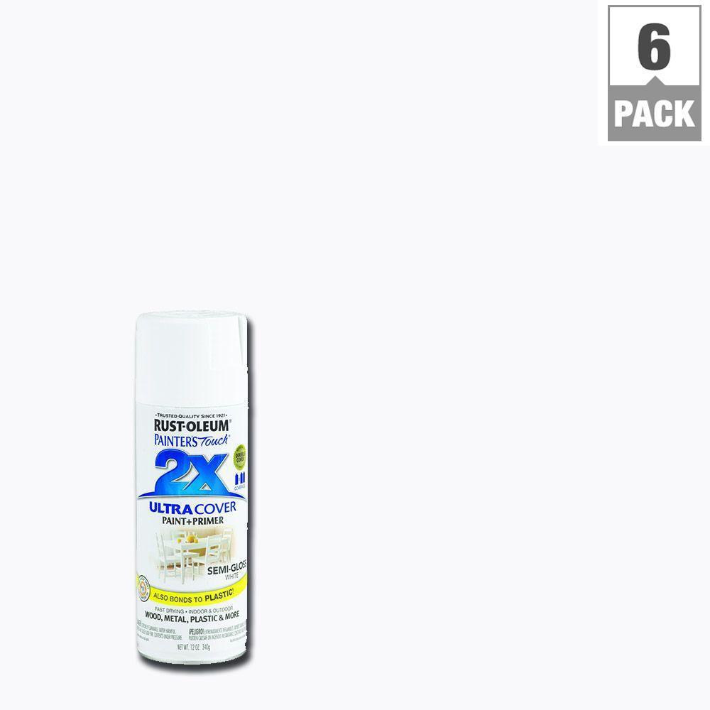 12 oz. White Semi-Gloss General Purpose Spray Paint (6-Pack)
