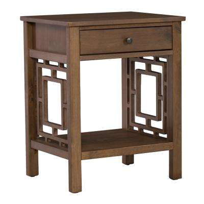 Haven Rustic Brown Wood End Table