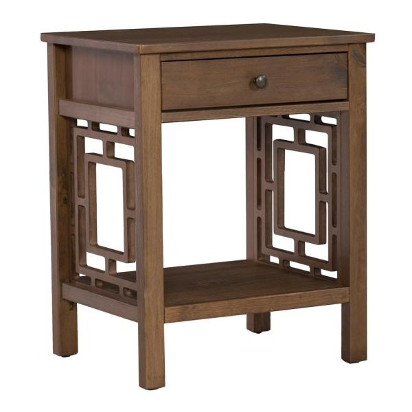 Linon Home Decor Haven Rustic Brown Wood End Table THD01876