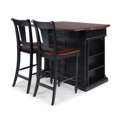 Beacon Hill Black and Cherry Solid Wood Top Kitchen Island with Two 24 in. Stools