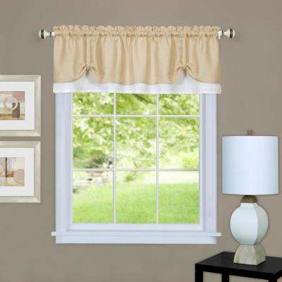 Darcy 14 in. L Polyester Valance in Tan/White