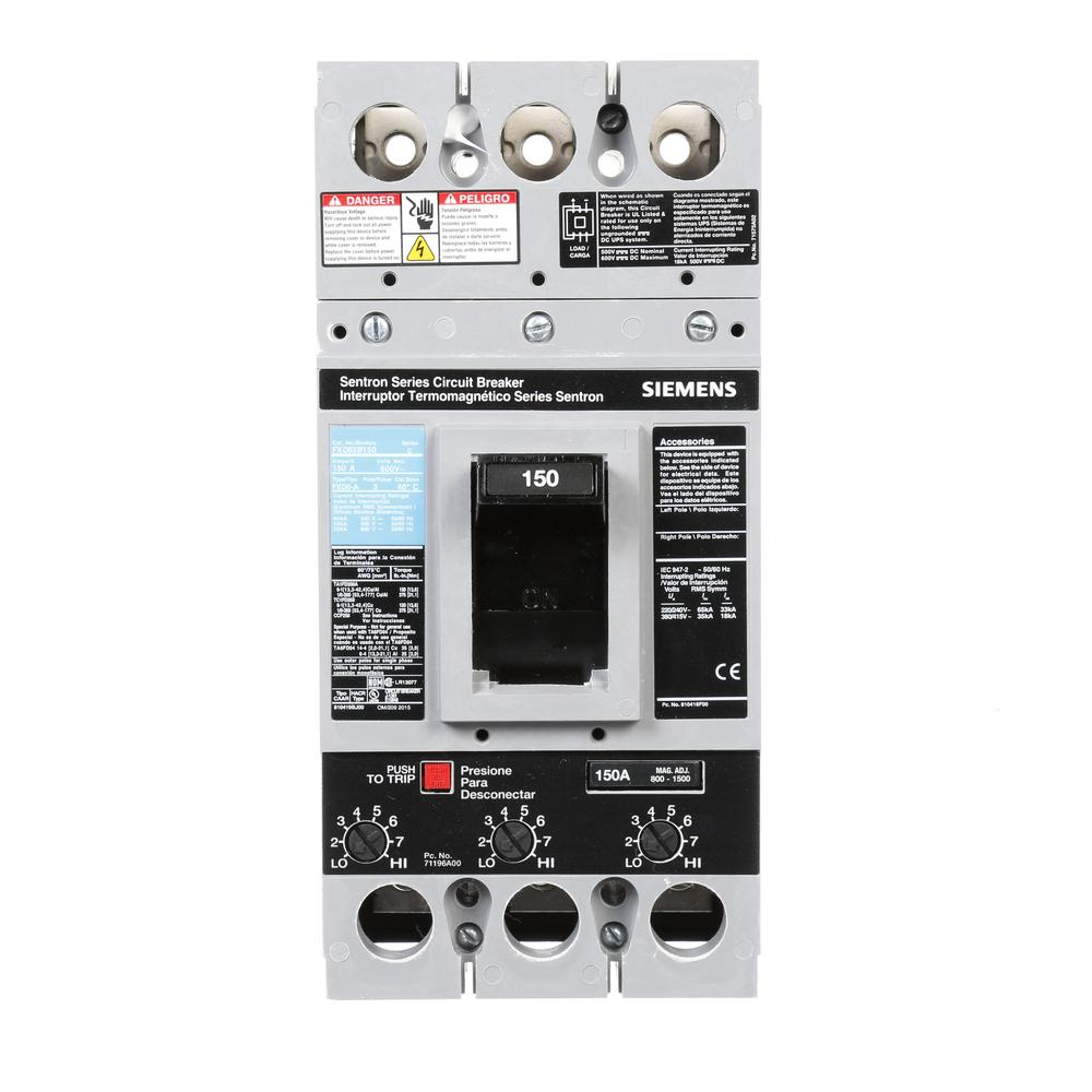 Siemens 150 Amp Type Fxd6 A Triple Pole Circuit Breaker Fxd63b150 Pad 3 Wiring Diagram