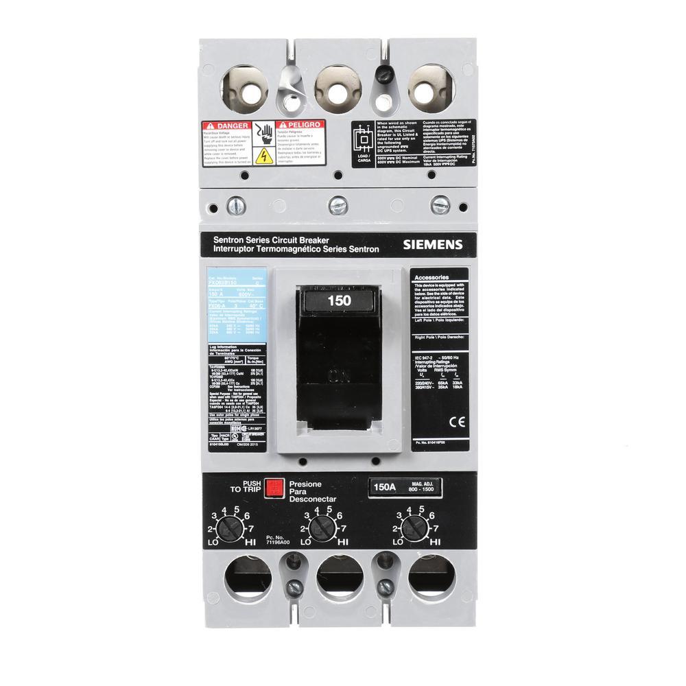Siemens 150 Amp Type FXD6-A Triple-Pole Circuit Breaker by Siemens