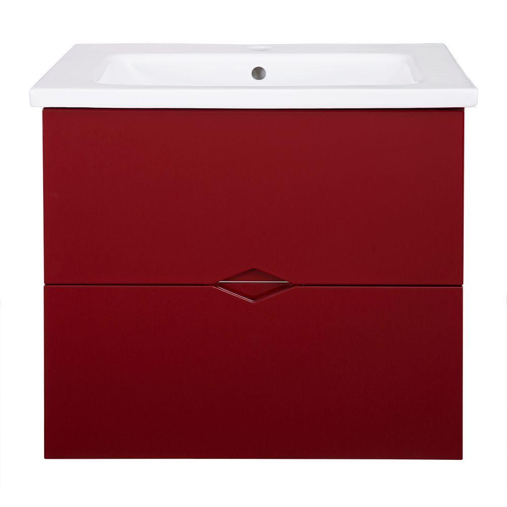 Schon Schon Esley 23.5 in. Vanity in Gloss Red with Vitreous China Vanity Top in White