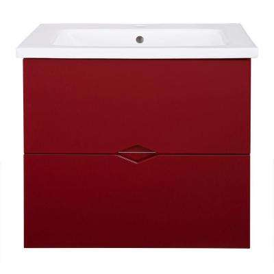 Esley 23.5 in. Vanity in Gloss Red with Vitreous China Vanity Top in White