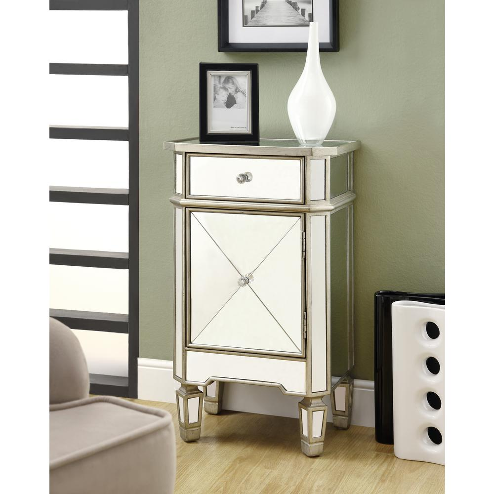 Monarch Specialties Mirrored End Table I 3702 The Home Depot