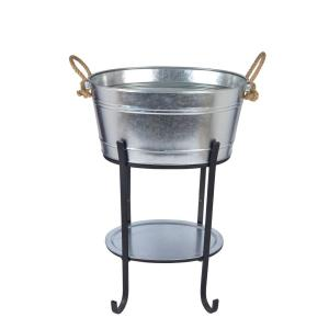 Oval Beverage Tub in Galvanized Metal with Tray and Stand