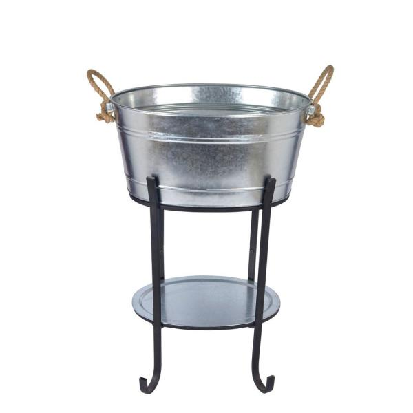 Hampton Bay Oval Beverage Tub in Galvanized Metal with Tray and