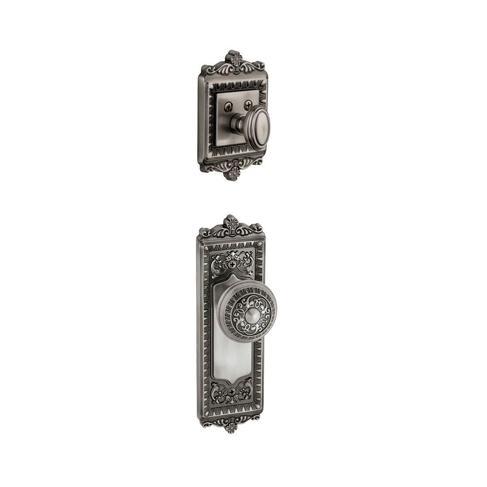 Grandeur Windsor Single Cylinder Antique Pewter Combo Pack Keyed Differently with Knob and Matching Deadbolt