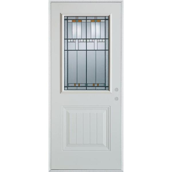 36 in. x 80 in. Architectural 1/2 Lite 1-Panel Painted White Left-Hand Inswing Steel Prehung Front Door