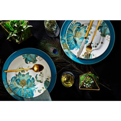 Eliza 16-Piece Casual Teal Porcelain Dinnerware Set (Service for 4)