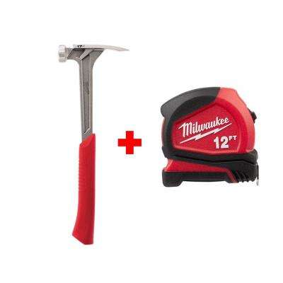 17 oz. Milled Face Framing Hammer with Free 12 ft. Compact Tape Measure