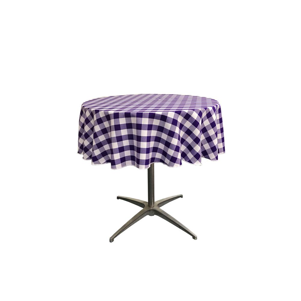 La Linen 51 In White And Purple Polyester Gingham Checd Round Tablecloth